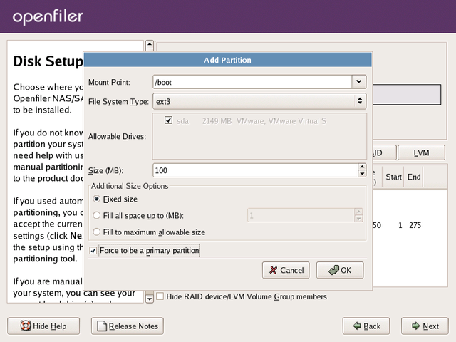 Graphical Installation | Openfiler